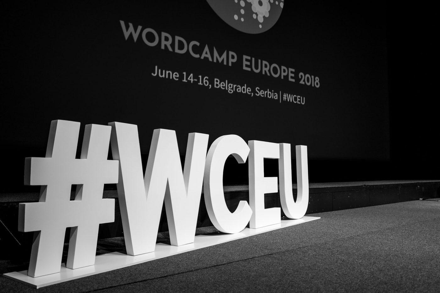#WCEU - Hashtag auf der Bühne des WordCamp Europe's