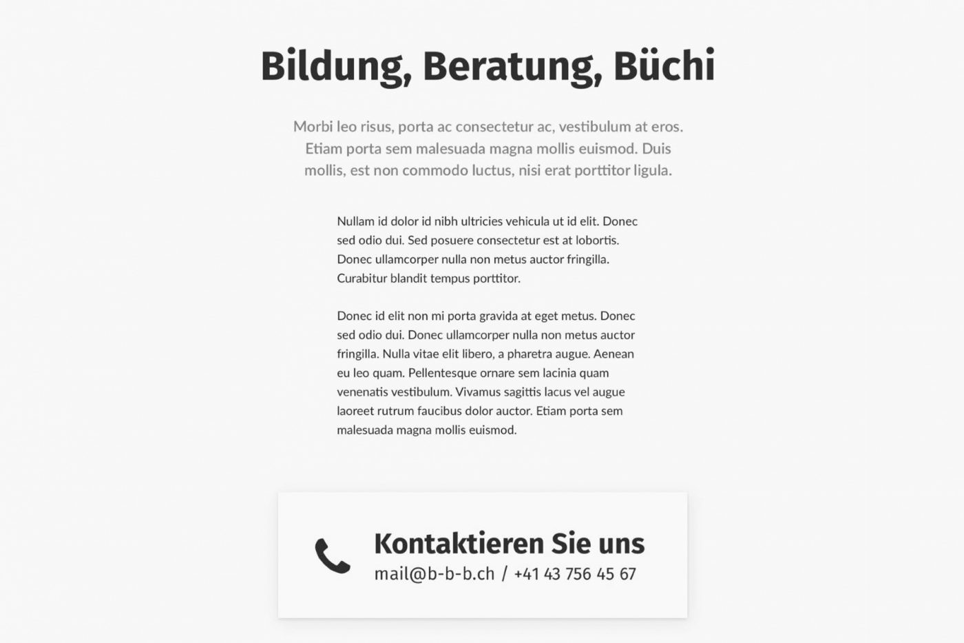 Screenshot for: Bildung, Beratung, Büchi