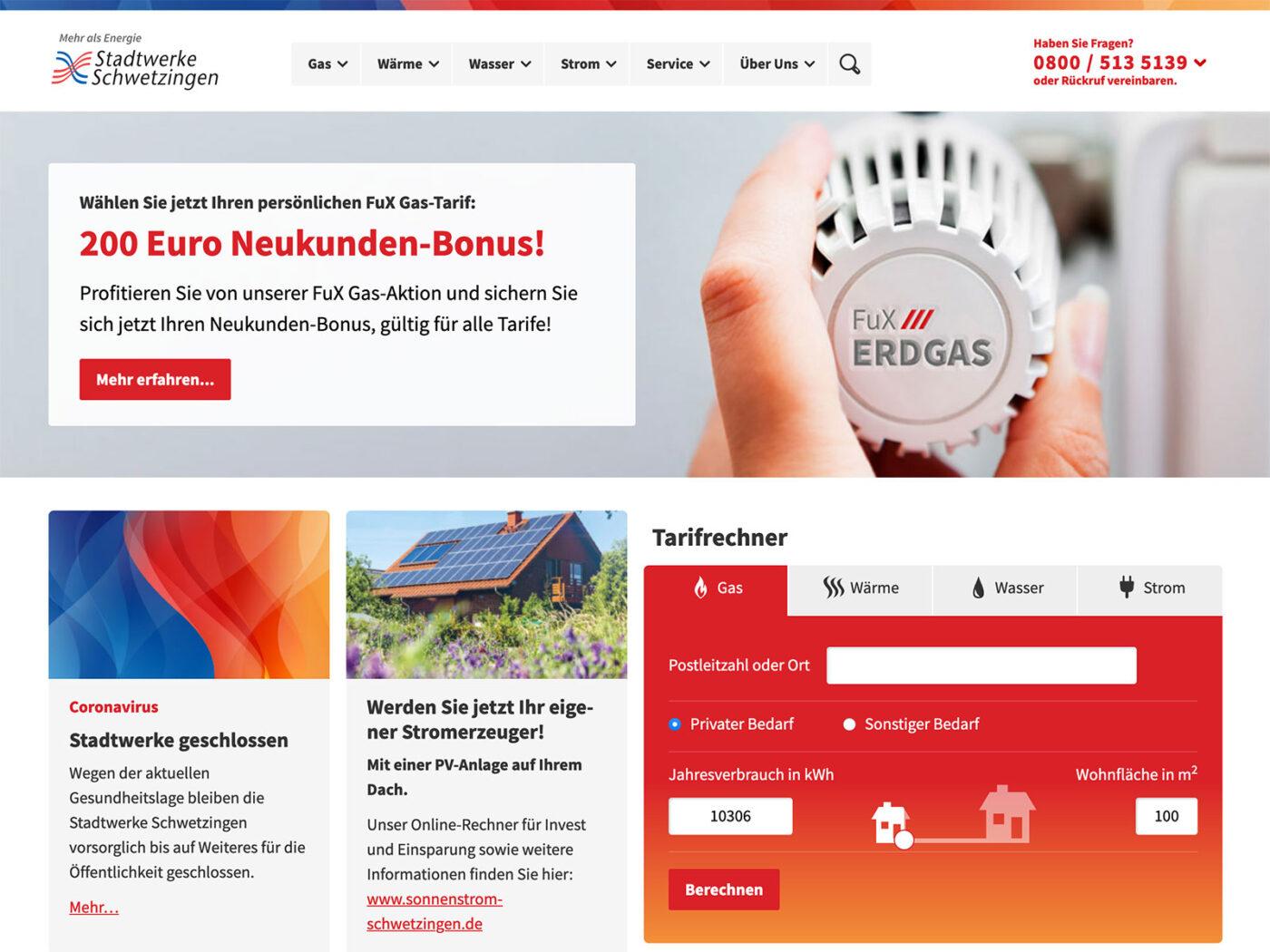 Screenshot der stadtwerke-schwetzingen.de Homepage auf einem Desktop Computer