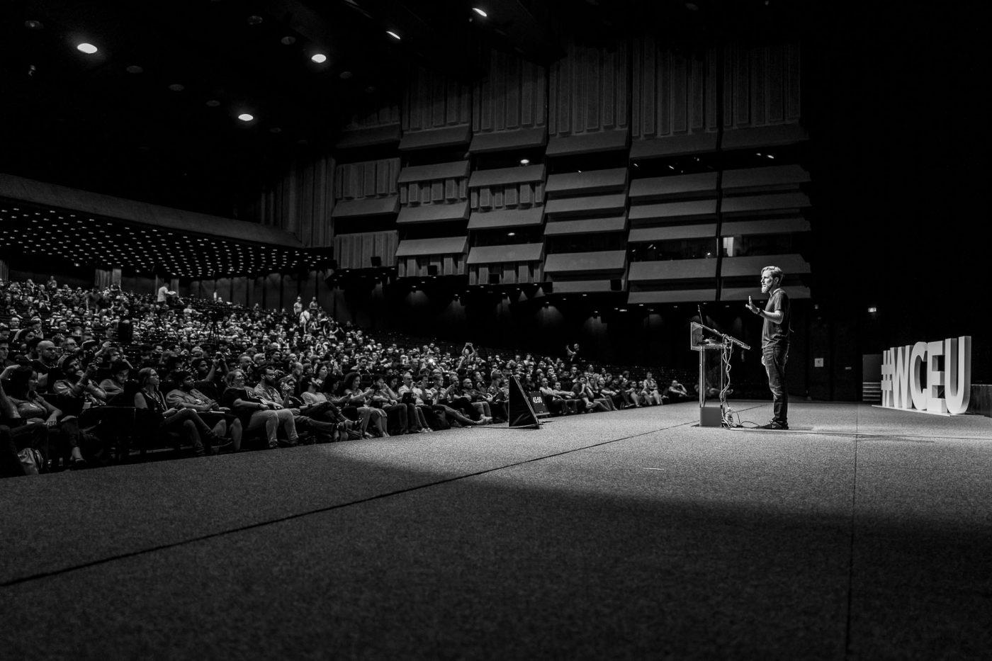 Matt Mullenweg während der Fragerunde am WordCamp Europe 2018