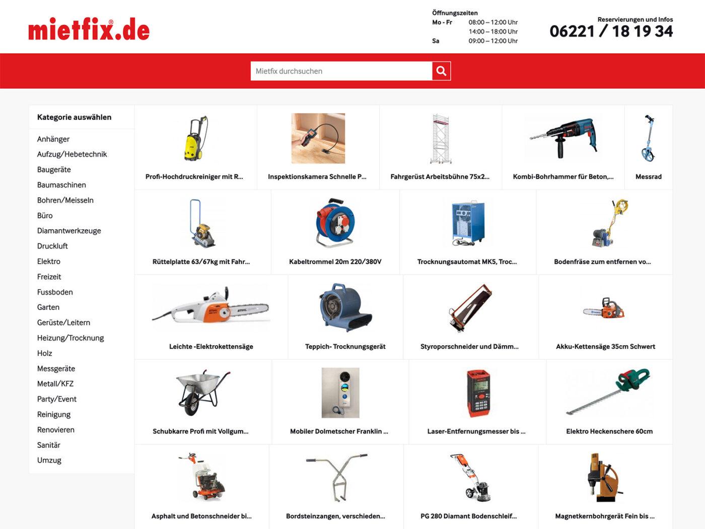 Screenshot der mietfix.de Homepage auf einem Desktop Computer