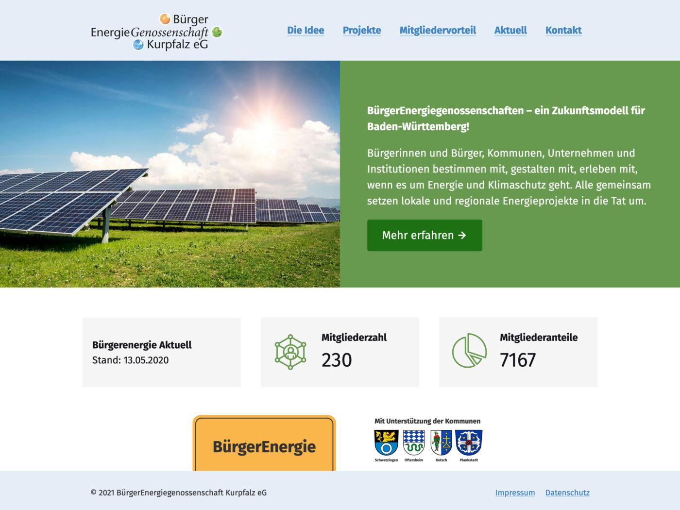 Screenshot der BürgerEnergie Homepage auf einem Desktop Computer